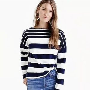 J Crew Stripe Blocked Navy White 3/4 Sleeve Tee